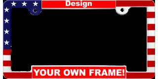 Patriotic Car Metal License Plate Frames