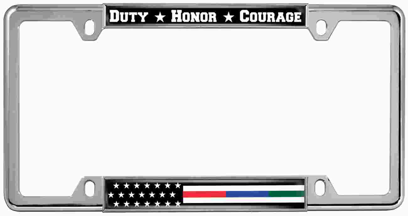 Police, Military and Fire Thin Line American Flag - Metal License Plate Frames