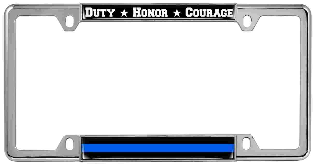 Duty Honor Courage Thin Blue Line - Metal License Plate Frames