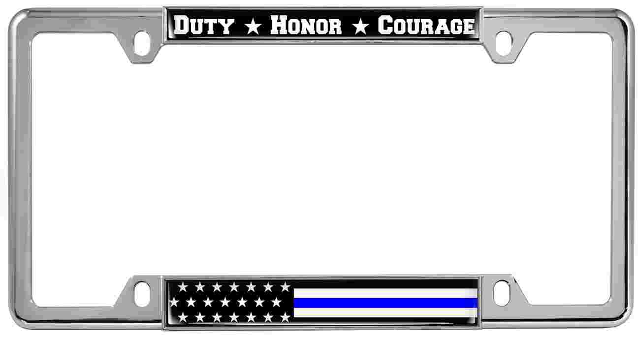 Duty Honor Courage Thin Blue Line with U.S. Flag - Metal License Plate Frames