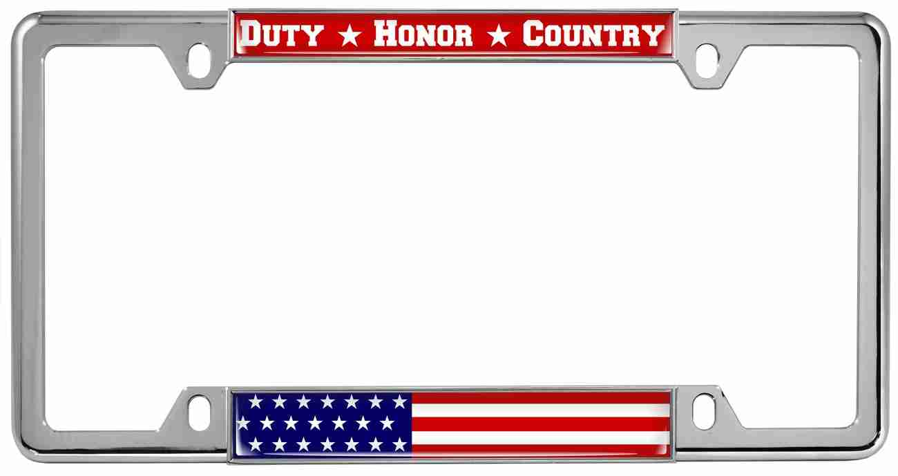 Duty Honor Country U.S. Flag - Metal License Plate Frames