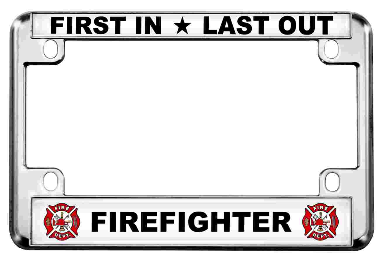 Firefighter - Motorcycle Metal License Plate Frame