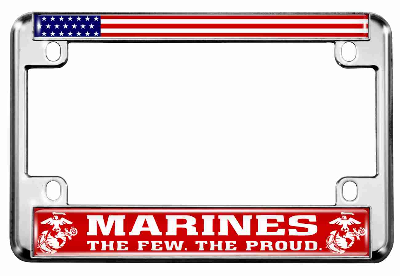 Marines. The Few. The Proud. - Motorcycle Metal License Plate Frame (RW)