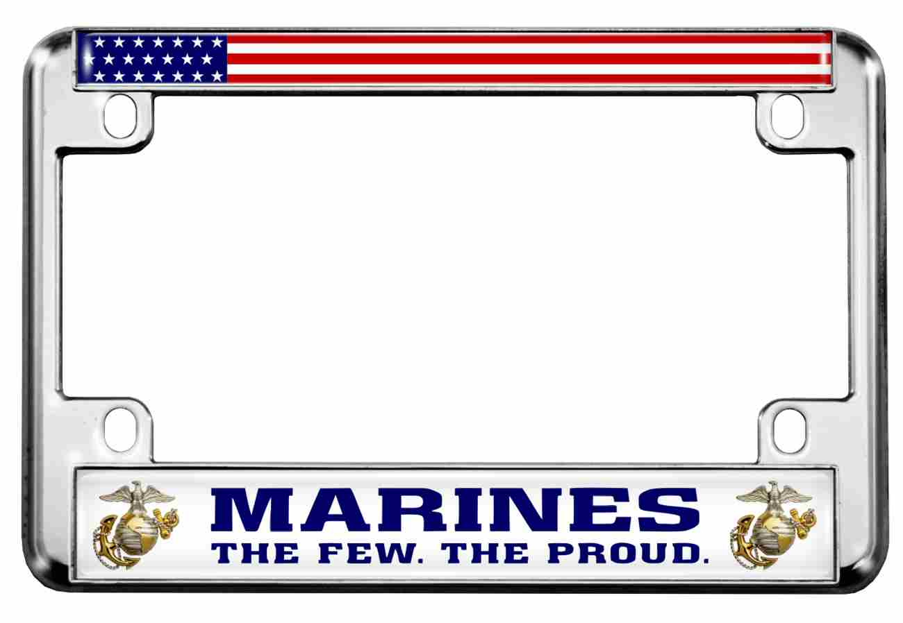 Marines. The Few. The Proud. - Motorcycle Metal License Plate Frame (WB)