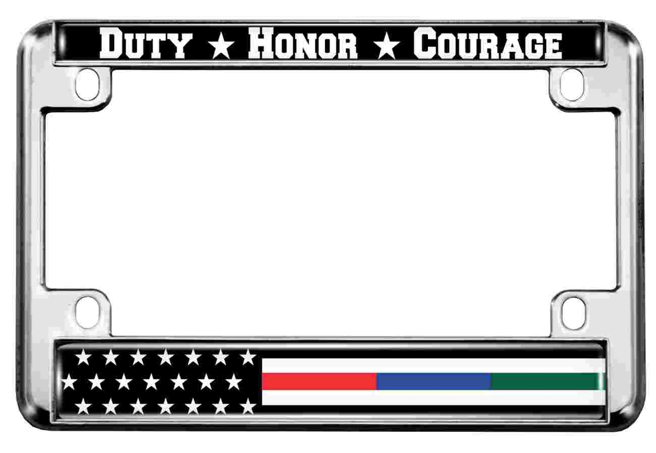 Police, Military and Fire Thin Line American Flag - Motorcycle Metal License Plate Frame