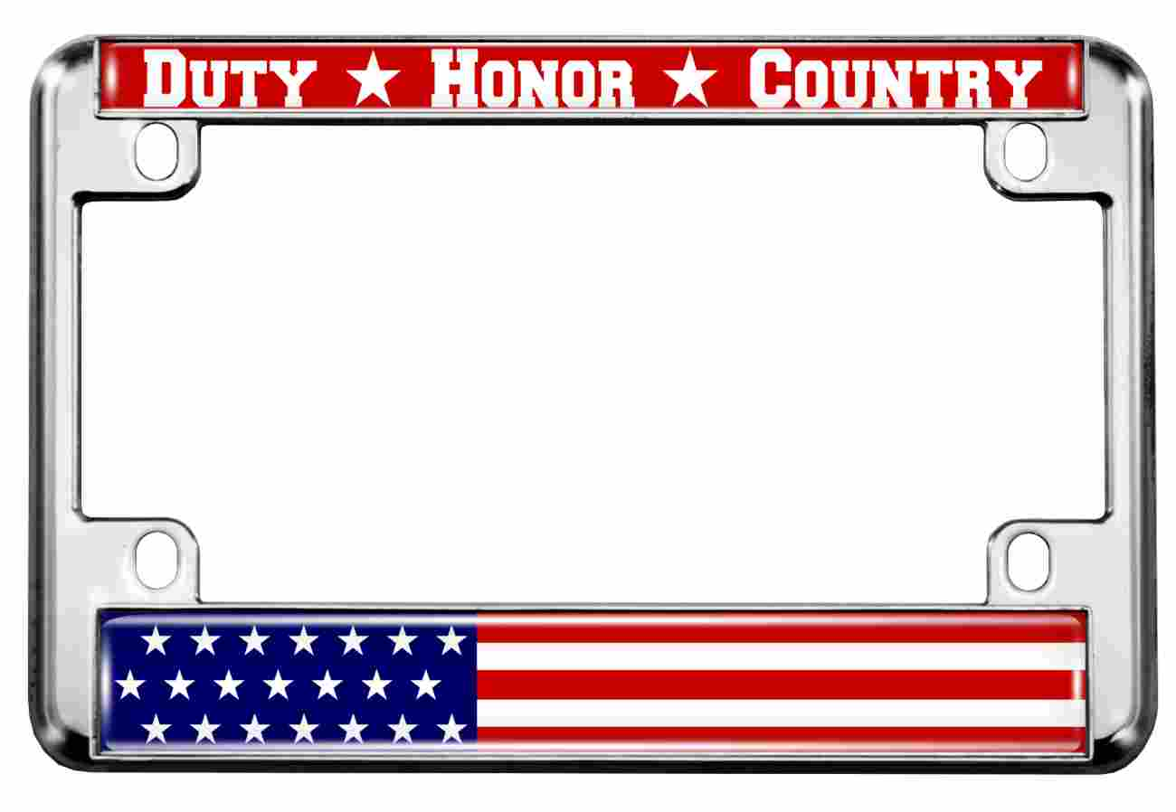 Duty Honor Country U.S. Flag - Motorcycle Metal License Plate Frame