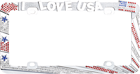 """I LOVE USA"" Chrome Metal License Plate Frame with Red, Blue and Clear Crystals"