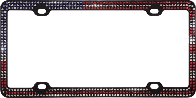 American Flag Patriotic Black Metal License Plate Frame with Crystals