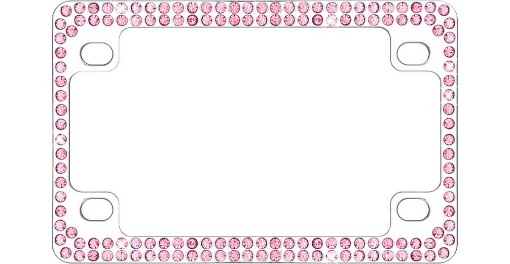 Double Row Chrome Metal Motorcycle License Plate Frame with Pink Crystals