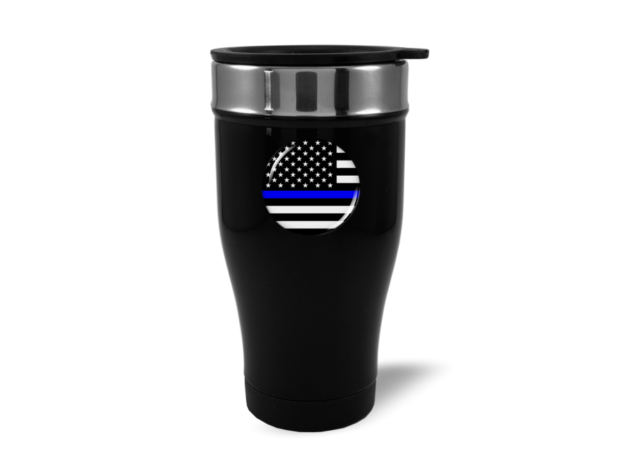 Travel Mug with Thin Blue Line American Flag Logo